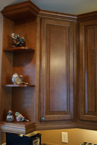 raised panel cherry cabinets with brown glaze