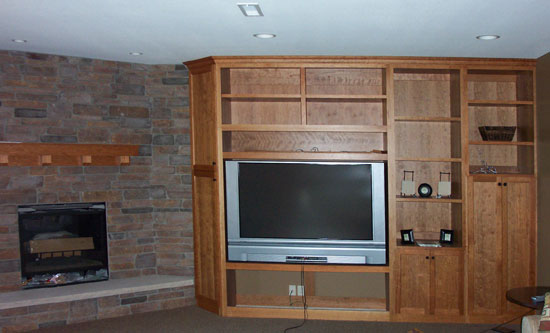 Cherry Entertainment Wall and Fireplace